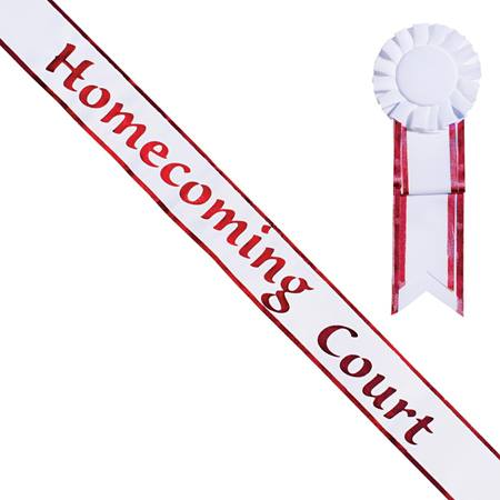 Homecoming Court Sash and Rosette - White/Red Edges
