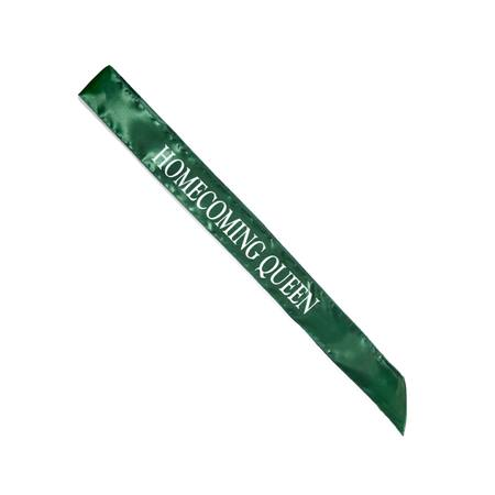 Homecoming Queen Satin Sash - Green/White