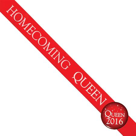 Homecoming Queen 2017 Sash and Button Set - Red and White