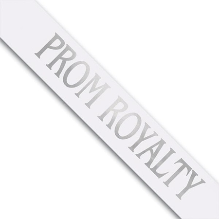 Prom Royalty Sash - White