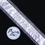 Prom King Bling Sash and Button Set - White