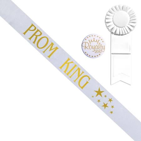 White Prom King Sash With Gold Stars Design, Rosette, and Button Set