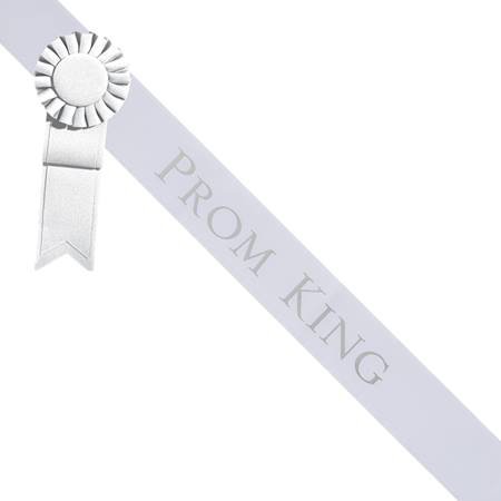 Prom King Sash With Rosette - White/Silver