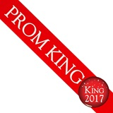 Prom King 2017 Sash and Button Set - Red