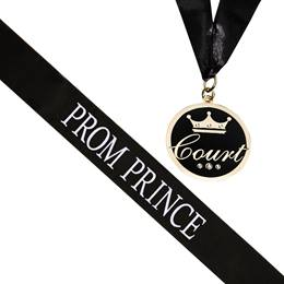Prom Prince Sash and Medallion Set -Black/White