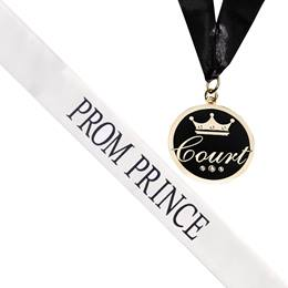 Prom Prince Sash and Medallion Set -White/Black