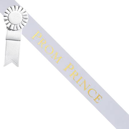 Prom Prince Sash With Rosette - White/Gold