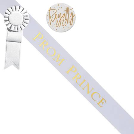 Prom Prince Sash and Button Set - White and Gold
