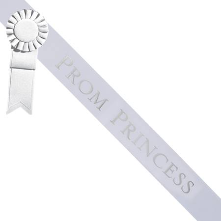Prom Princess Sash With Rosette - White/Silver