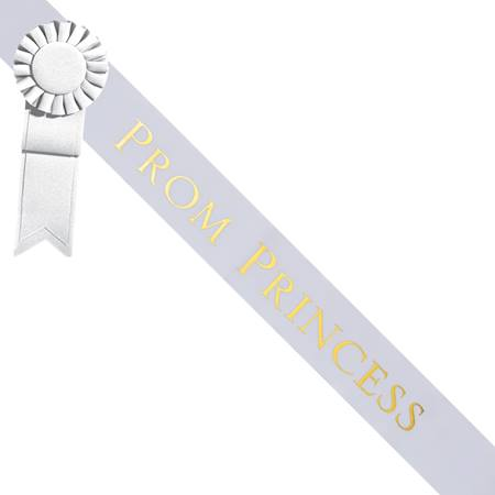 Prom Princess Sash With Rosette - White/Gold
