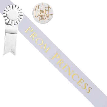 Prom Princess Sash and Button Set - White and Gold