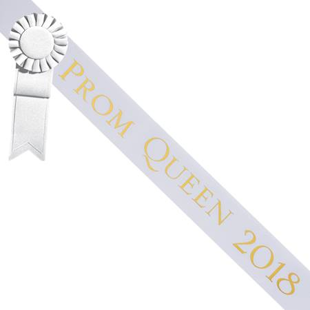 Prom Queen 2018 Sash With Rosette - White/Gold