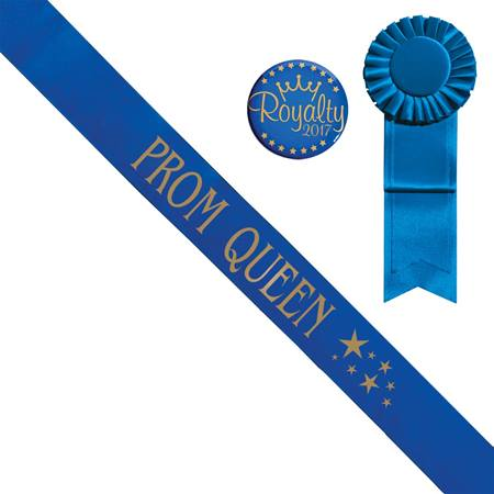 Blue Prom Queen Sash With Gold Stars Design, Rosette, and Button Set