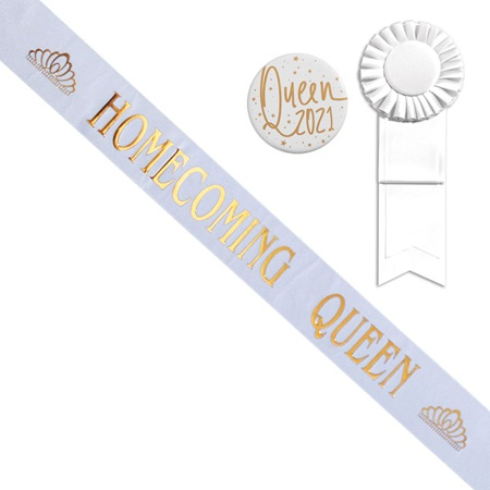 White Prom Queen Sash With Tiara Design and Button Set