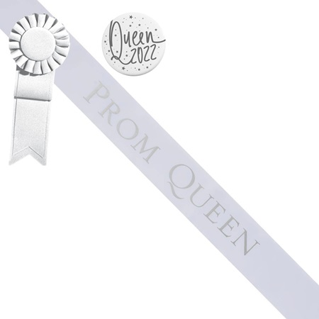 Prom Queen Sash and Button Set - White and Silver