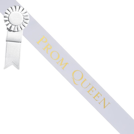 Prom Queen Sash With Rosette - White/Gold