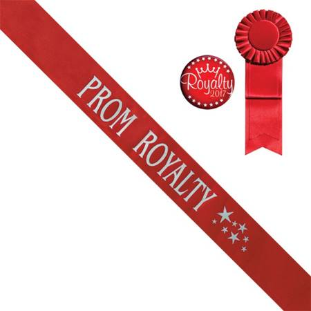 Red Prom Royalty Sash With Silver Stars Design, Rosette, and Button Set