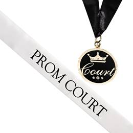 Prom Court Sash and Medallion Set -White/Black