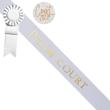 Prom Court Sash and Button Set - White and Gold