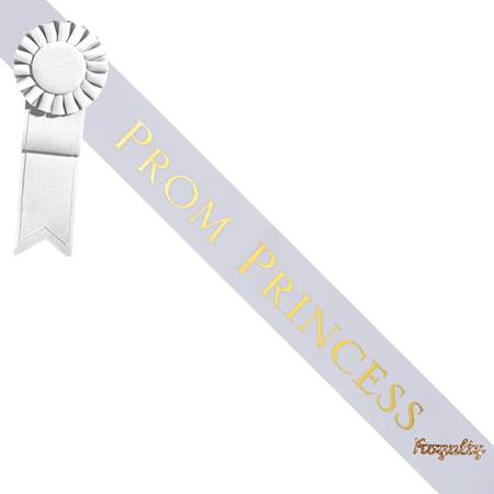 Prom Princess Sash With Rosette and Pin - White/Gold