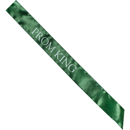 Satin Prom King Sash - Green and White