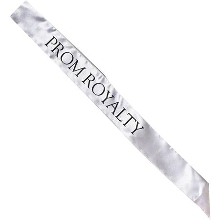 Satin Prom Royalty Sash - Silver and Black