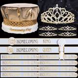 Majestic Gold Royalty Set with Sashes - Metallic Gold Crown/Mirabella Queen Tiara