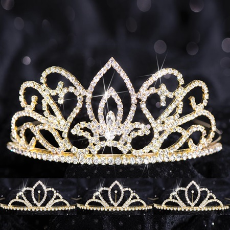 Four-piece Tiara Set - Gold Adele Queen and Chelsey Court