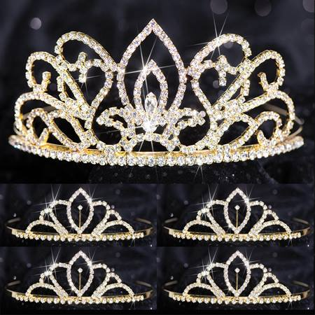 Five-piece Tiara Set - Gold Adele Queen and Chelsey Court