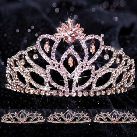 Four-piece Tiara Set - Rose Gold Cassandra Queen and Kiley Court