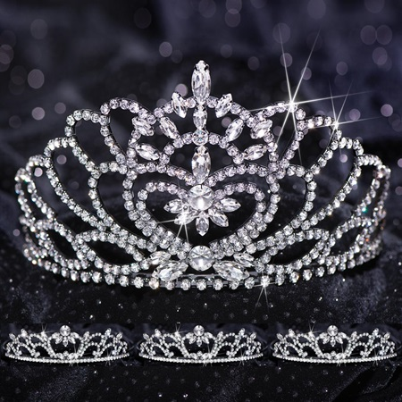 Queen and Court Tiara Set - Black Marissa and Madison