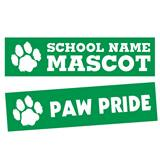 Furry Paw Rectangle Bumper Magnet - Green/White