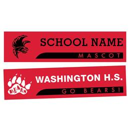 Banner Stripe Rectangle Bumper Magnet - Red/Black