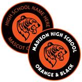 Single Stripe Round Bumper Magnet - Orange and Black