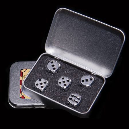Steel Dice Set with Metal Case
