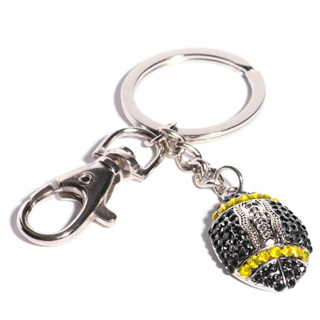 Bling Football Key Chain - Black and Gold