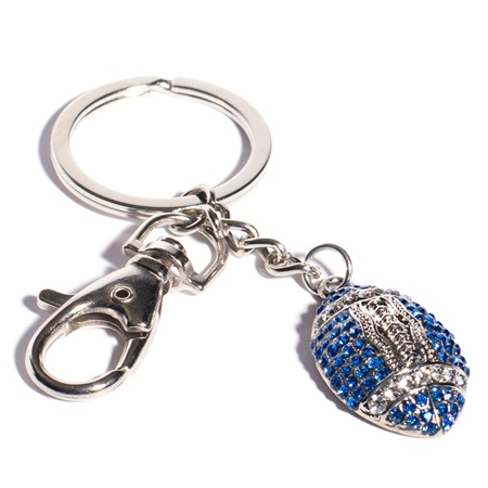 Bling Football Key Chain - Blue and White