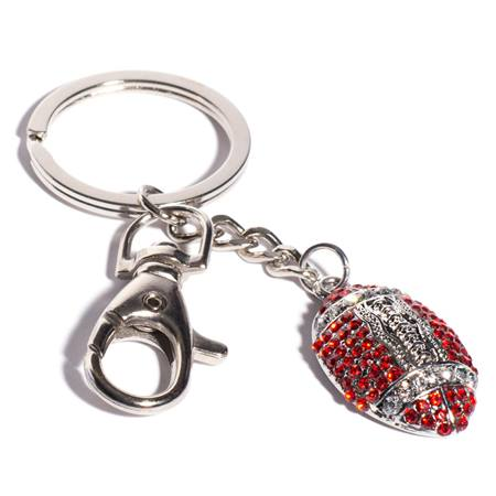 Bling Football Key Chain - Red and White