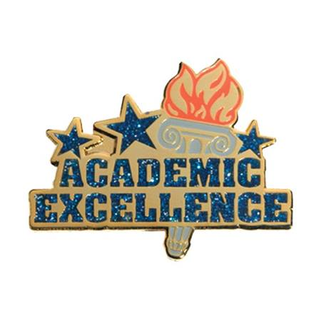 Glitter Award Pin - Academic Excellence/Torch