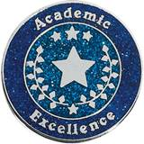 Academic Excellence Award Pin – Silver Stars on Blue Glitter