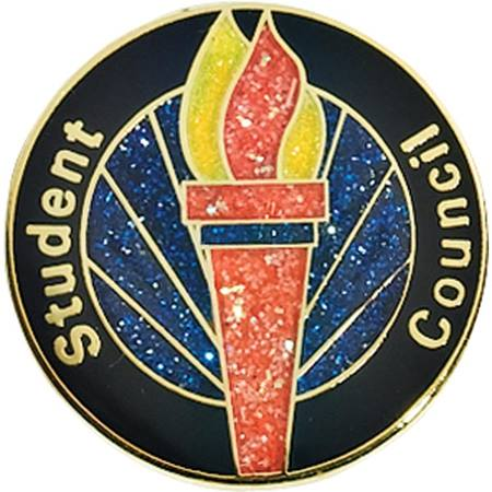 Student Council Award Pin – Glitter Torch on Blue