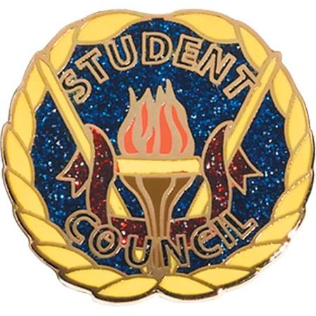 Student Council Award Pin – Torch on Blue Glitter with Red Glitter Streamer
