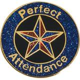 Perfect Attendance Award Pin – Blue/Red Glitter