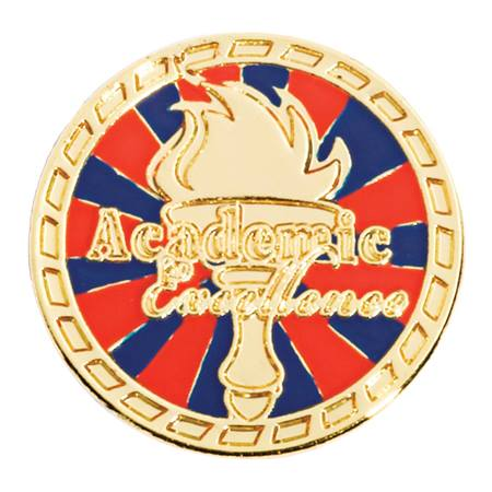 Academic Excellence Award Pin - Red/Blue Torch