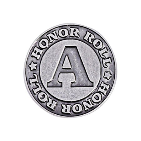Honor Roll Award Pin - Silver A in Circle