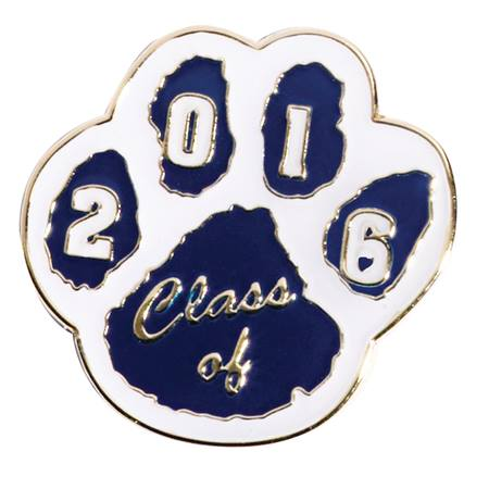 Class of 2017 Award Pin - Blue/White Paw