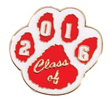 Class of 2017 Award Pin - Red/White Paw