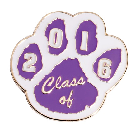 Class of 2017 Paw Award Pin - Purple and White