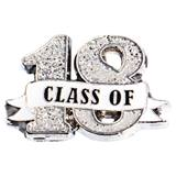 Class of '18 White Ribbon Glitter Pin