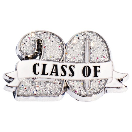 Class of '20 White Ribbon Glitter Pin